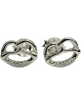 SILBERMOOS Damen Ohrstecker Brezel Brezn klein glänzend Sterling Silber 925 Trachtenschmuck Oktoberfest Ohrringe