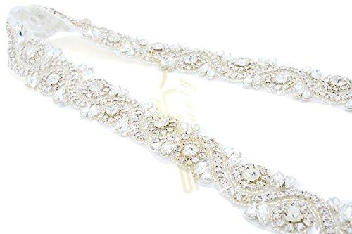ShinyBeauty Kleid Strumpfband Braut Strass Applikation Crystal Applique Braut Hochzeit Schärpe Applique RA245