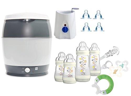 MAM Set 3 - Startset - Flaschen Sauger Sterilisator Flaschen- & Babykoster 22 tlg. - Ivory + gratis Schmusetuch Löwe Leo