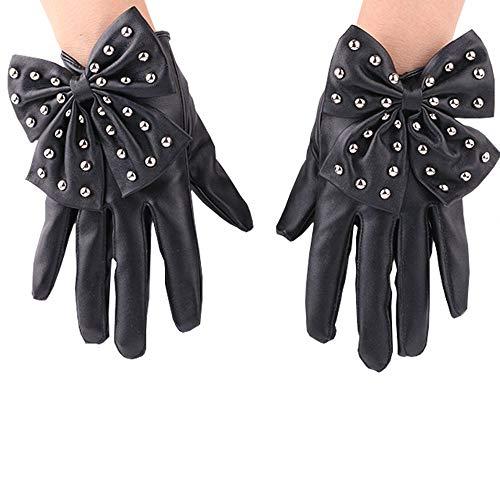 Punk Rock Nieten Bowknot PU Leder Handschuhe Winter warme Mode Damen fahren Handschuhe Niet Nachtclub Bogen Kunstleder PU Handschuhe warme Handschuhe