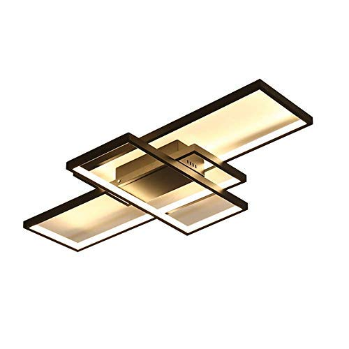 Dimmbar LED Deckenleuchte Deckenlampe Modern Ring Rechteck Design Decken Kronleuchter für Schlafzimmer Wohnzimmer Küche Esszimmer Studio Büro Halle Beleuchtung mit Fernbedienung,Black Ø85cm Itt-ring