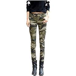 NASKY Señoras Camuflaje Pantalones Lápiz Polainas Delgados Apretados Pantalones Suaves Pantalones Vaqueros Del Estiramiento (44)