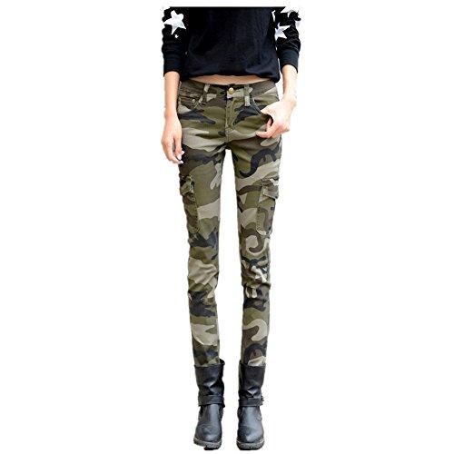 NASKY Ladies Camouflage Crayon Pantalon Leggings Slim Tight Pantalon doux Stretch Jeans (38)
