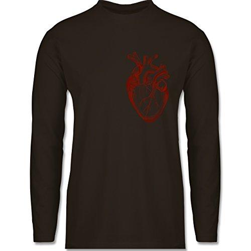 Nerds & Geeks - Herz Anatomie - Longsleeve / langärmeliges T-Shirt für Herren Braun