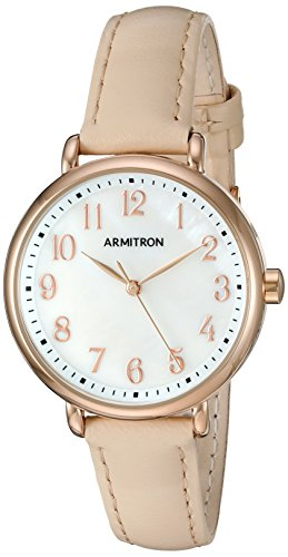 Armitron Women's 75/5404MPRGBH Easy To Read Rose Gold-Tone and Beige Leather Strap Watch