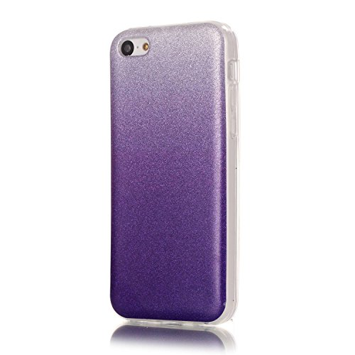 iPhone 5C Case,iPhone 5C Hülle - Felfy Apple iPhone 5C Ultra Slim Ultradünn Case Soft Gel Flexibel TPU Silikonhülle mit Bling Sternchen Gradient Farbe Design Protective Scratch Resistant Bumper Case B Lila Case