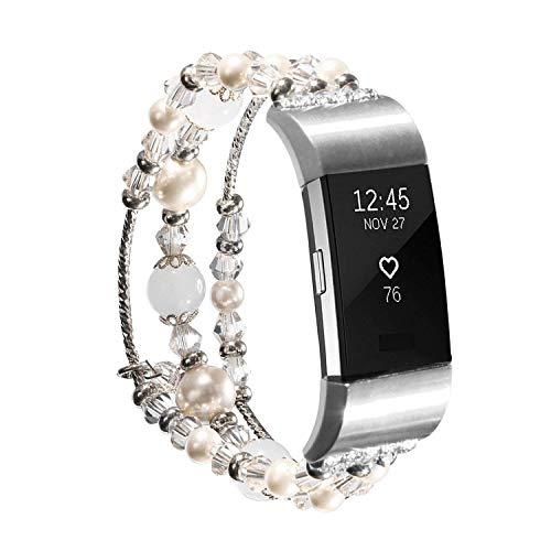 für Fitbit Charge 2 Bands, Mode Ersatz Armband mit handgefertigten elastischen Perlen Perlen Band für Frauen Mädchen weiblich