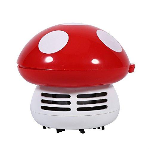Mini Desktop Vakuum Staub Reiniger für Tisch Tastatur Computer-Schreibtisch Neuheit Pilzform Home Office Schreibtisch Dekoration rot (Schreibtisch Staub-reiniger)