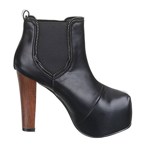 Chaussures, b754H-kB hIGH hEELS femme, bottines à plateforme Noir - Noir