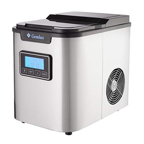 Gemlux Eismaschine | Eiswürfelmaschine für Küchenarbeitsplatte | Macht große, mittlere und kleine Würfel | Tragbar | Für kalten Softdrinks, Kaffee, Tee, Whisky und Bier | Barzubehör IM-88 - Kühlschränke Maker Mit Ice
