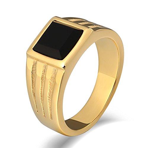 SonMo Stainless Steel Herren Ringe Siegelring Stein Herren Bandring Edelstahl Herren Gold Signet Ring Band Ring Daumenring für Mann