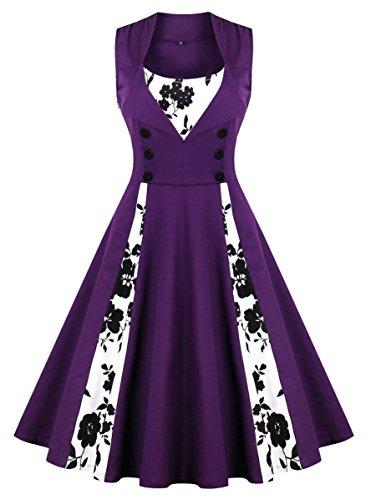 Oriention 1950s Rockabilly Kleid Blumenkleid Vintage Retro Partykleider Cocktailkleider Sommerkleid damen Knielang (46, lila-31) (Lila Plus Size Kleid)