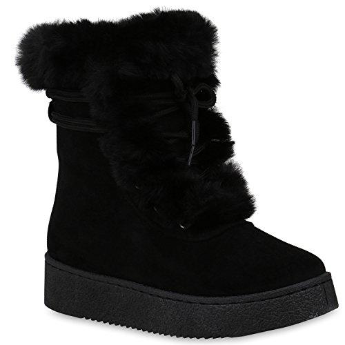 Damen Schuhe Stiefeletten Winter Boots Warm Gefütterte Stiefel Kunstfell 153277 Schwarz Carlet 39 Flandell