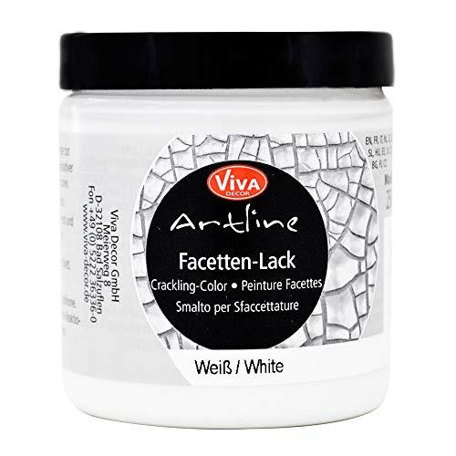 Viva Decor®️ Artline Facetten-Lack (Weiß, 250ml) Crackle Paste - Reisslack Krakelierlack Farben - Vintage Effekt Paste - Farbe für Glas, Porzellan, Leinwand UVM. - Made in Germany