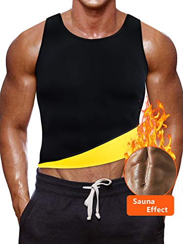 Novecasa canotta sauna uomo neoprene/pantaloncini sauna adatta pantaloni body shaper ginnastica per sudare, bruciare i grassi fitness yoga (m, canotta giallo)