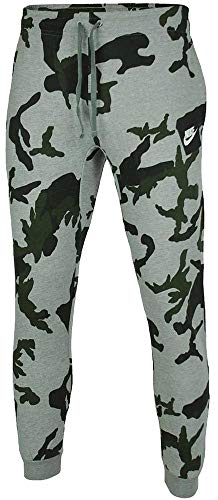Nike Herren Hosen Mens Club Fleece Jog Pant Camo Track Pant Cuffed Tracksuit Bottoms Grey New AH7020 (Large) (Hose Camo)