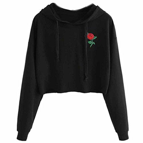 WOCACHI Damen Sommer T-Shirts Frauen Sommer Eine Rose Stickerei Bedruckte Bluse Kurzarm O-Ausschnitt Tops T-Shirt (XL/38, Schwarz-15) (Teenager Katze Kostüme)