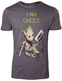 Guardians of the Galaxy T Shirt Mini I am Groot Tape officiel Homme nouveau Gris