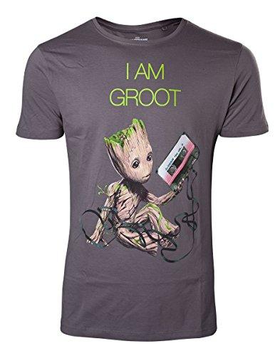 Preisvergleich Produktbild Guardians of the Galaxy T Shirt Mini I am Groot Tape offiziell Herren Nue Grau