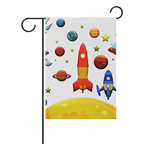 mflagge Banner {Spac} Zoll Astronaut Weltraum Deko Hausflagge für Hochzeit Party Zuhause Indoor Outdoor Decor, bunt, 28x40(in) ()