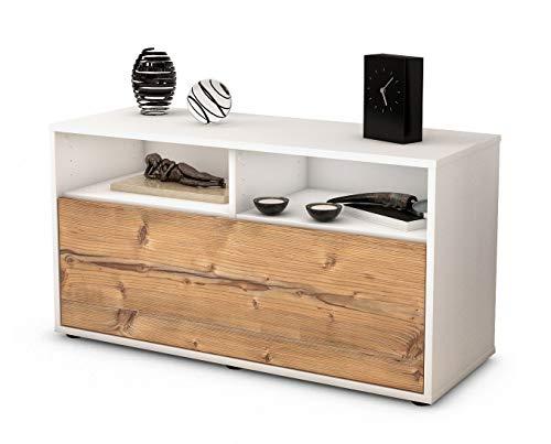 Stil.Zeit Möbel TV Schrank Lowboard Agostina, Korpus in Weiss Matt/Front im Holz Design Pinie (92x49x35cm), mit Push to Open Technik, Made in Germany