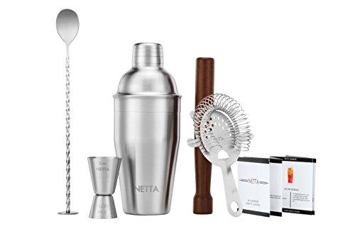 NETTA Luxus Cocktail Shaker Set in einer Geschenkbox mit Rezept Guide, 550 ml Shaker, Twisted Bar Löffel, Hawthorne Sieb, 25 ml/LSF15 Measuring Jigger und Holzstößel edelstahl