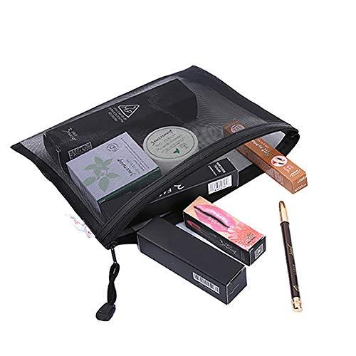 Xiton 1pc Portable MakeUp Bag Black Zipper verrouillage Mesh Sacs de rangement cosmétiques Sac MakeUp Organisateur Voyage clair Crayon Multifonctionnel Mesh Pouch (Noir)