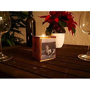 Personalisierte Teelichthalter aus upgecyceltem Holz