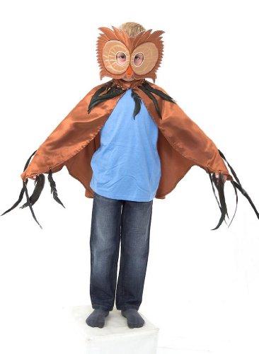 Kostüm Maske Eule - Eulen Umhang Kostüm mit Maske - Eule Kostüm Karneval - 3-8 Jahre alt - Slimy Toad