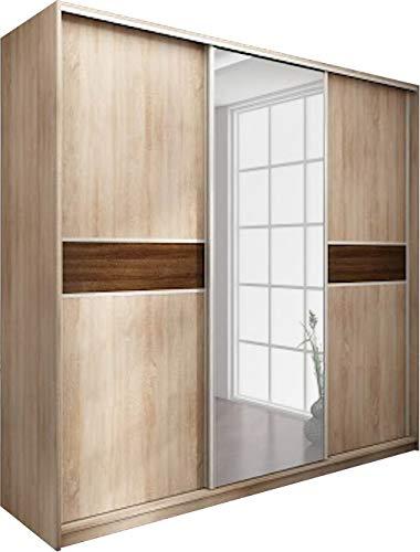 Neuf, Moderne, Garde-robe/Armoire 3 de porte coulissante avec miroir. Largeur: 220cm Hauteur: 216cm Profondeur: 65cm - Chêne Sonoma Lumière/Chêne Sonoma Foncé.
