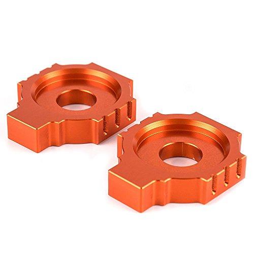 Nawenson - Bloques de ajuste del tensor de cadena para el eje trasero - Para motos de cross - Alta calidad - Aluminio CNC - Color naranja