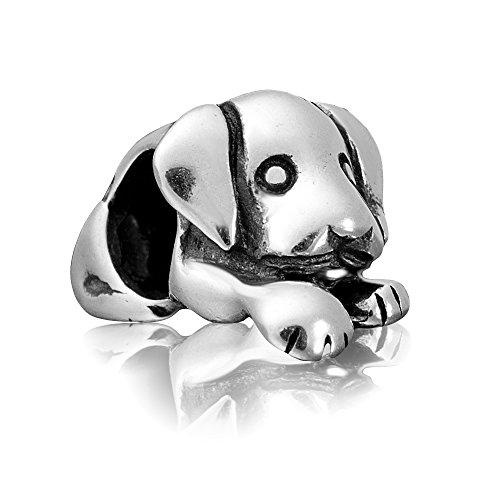 """Andante-Stones 925 Sterling Silber Bead Charm \""""Hund\"""" Element Kugel für European Beads + Organzasäckchen"""