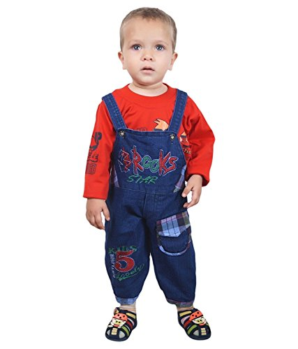 ahhaaaa's Baby Boys Denim Dungaree with T shirt (RED179-1_Red_12 - 18 Months)