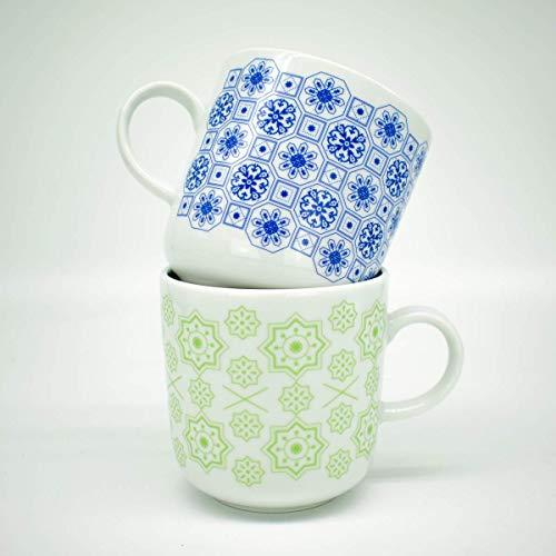 Kaffeebecher 2er-Set - Portugiesische Fliesen Motive Lissabon - Fliesenmuster Porzellan-Tasse - Porzellan-fliesen