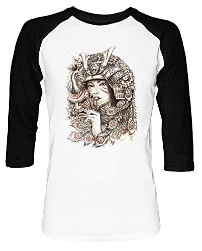Pfau Samurai Herren Damen Unisex Baseball T-Shirt Weiß Schwarz 2/3 Ärmel Women's Men's Unisex Größe M Men's White T-Shirt Medium Size M