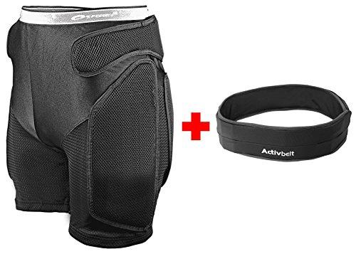 Spokey® Snow Snowboard Protektoren Unterhose Protector-Shorts Hüftschutzhosen | im Set mit der praktischen Activ Belt Gürteltasche/Laufgürtel, Größen:S