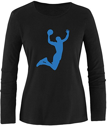 EZYshirt® Basketball   Slam Dunk Damen Longsleeve Schwarz/Blau