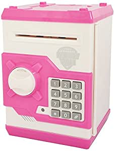 Catterpillar Money Safe Kids Piggy Savings Bank with Electronic Lock (Pink & White)
