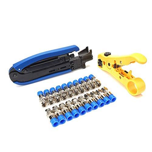 YUMUYMEY Kompressions-Crimp-Werkzeug-Set mit F-Stecker zum Kompressionsschneiden (Farbe : Blau) -