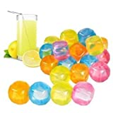 20 Pc Plastic Reusable Square Ice Cubes Multicolour by Panorama Gifts