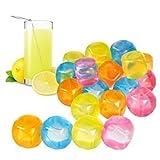 20 Stück Kunststoff Eiswürfel Quadrat Wiederverwendbar Mehrfarbig