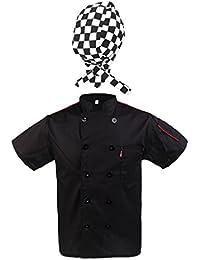 Sharplace Chamarra con Gorra de Cocinero Hombre Negro Uniformes Ropa Hotel Chef Cooks Sombrero Camarero