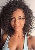 Leomi Hair brasilianisches Echthaar, Virgin Hair Perücken mit Frontschnürung, natürlich gewelltes Remy-Echthaar mit Babyhaar für Afroamerikaner, 130% Dichte