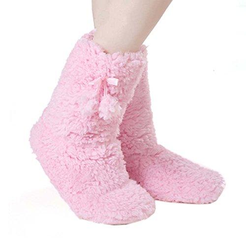 Weiche warme Socken Fleece Socken halten Warm Winter Haushalt Boden Socken Urlaub Socken für Frauen, Pink (Gestreifte Fuzzy-socken Weiche)