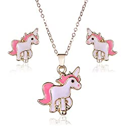Topdo 1 Set Conjunto de Collar y Pendientes con Boutique Damas Color Oro Collar con Unicornio Colgante de Elegante joyería Regalo Navidad para la Mujer Rosa