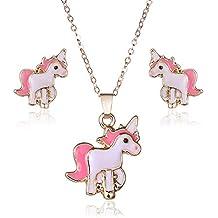 Topdo 1 Set Conjunto de Collar y Pendientes con Boutique Damas Color Oro Collar con Unicornio