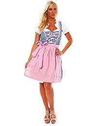 10591 Fashion4Young Damen Dirndl 3 tlg.Trachtenkleid Kleid Mini Bluse Schürze Trachten Oktoberfest