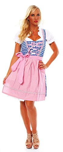 10591 Fashion4Young Damen Dirndl 3 tlg.Trachtenkleid Kleid Mini Bluse Schürze Trachten Oktoberfest (34, Rosa Blau Weiß)