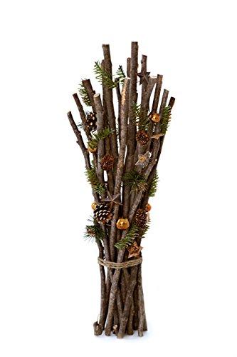 Heitmann Deco dekorierte Holz-Zweige - mit Kordel gebündelt - Kunst-Tanne, Sterne, Zapfen und kupferfarbene Kugeln