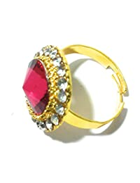 Diva Traditional & Ethnic Gold Plated Finger Ring For Women Maroon (Adjustable)